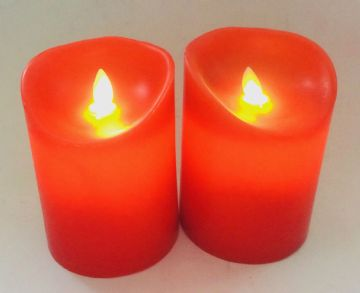 "2X -  5"" RED Flameless LED  Round Pillar Candles"